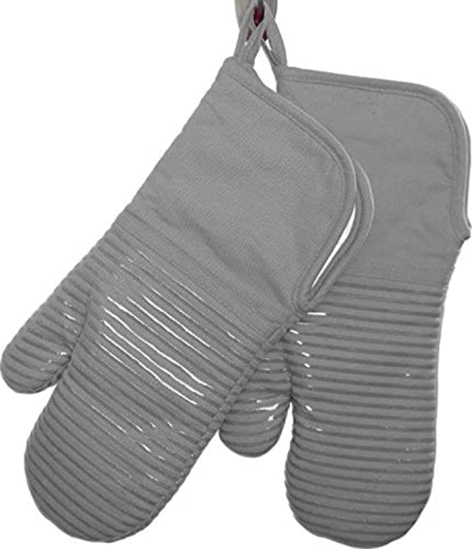 Gourmet Essentials 2pk Oven Mitt With Silicone Strips Grey