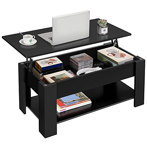 Yaheetech Lift Top Coffee Table with Hidden Compartment and Storage Shelf, Rising Tabletop Dining...