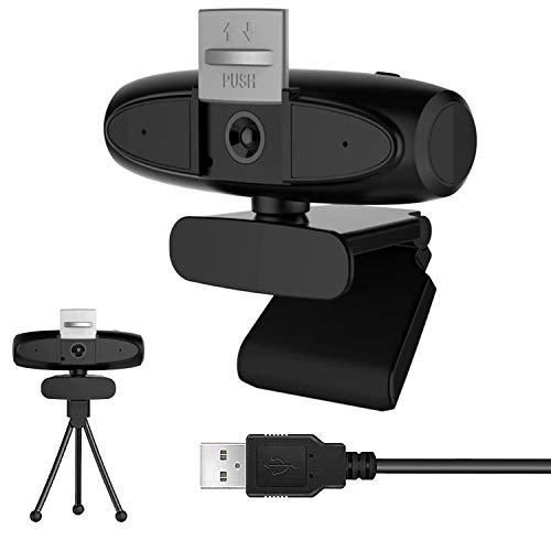 Webcam 1080P Full HD con Micrófono Incorporado y Cubierta de Privacidad Web Cámara USB Plug Play Webcam para Video Chat y Grabación, Compatible con PC Windows, Computadora Mac