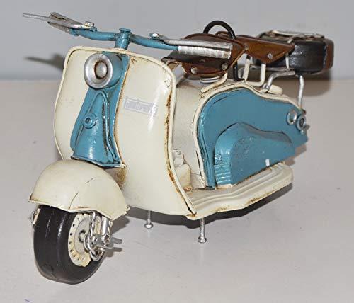 JS GartenDeko Blechmodell Roller Nostalgie Modellauto Oldtimer Marke Lambretta Motorroller Modell aus Blech L 24 cm
