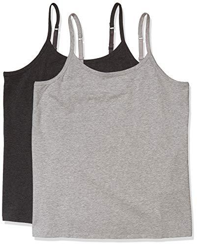 Amazon Essentials Plus Size 2-Pack Camisole fashion-t-shirts, Carbón Gris Claro Jaspeado, 3X