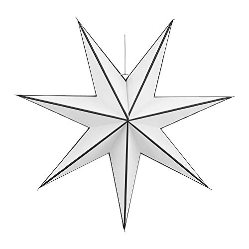 House Doctor - Stern, Weihnachtsstern, Papierstern - Stroke - 7 Zacken - weiß/schwarz - Ø60 cm