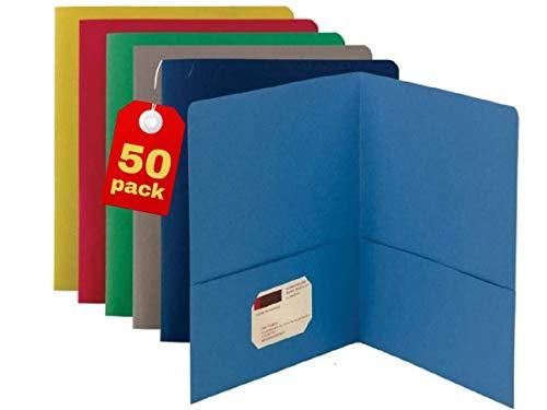 1InTheOffice Two Pocket Folders Assorted, 2 Pocket Folder, Leatherette Portfolio, (50 Pack)