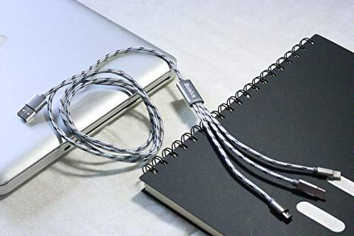 Bolatus 1m Multi USB Kabel, Nylon 3 in 1 Universal Handy Ladekabel Mehrfach Adapter mit Type C Micro USB Kompatibel für Smartphone Tablets und mehr (1m*1pack Silber)