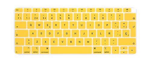 Spanish Keyboard Protector for 2018 New MacBook Air 13 A1932 EU Layout Keyboard Cover MabookAir 13.3 Silicone Skin Spain Guard-Yellow-