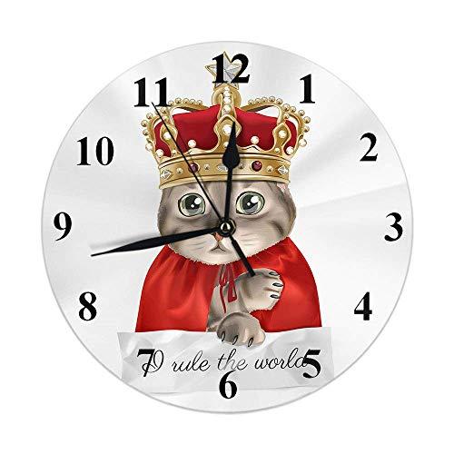 Reloj de Gato, Lindo Gatito Animal con Corona, Disfraz de Rey Rojo, Reloj de Pared Redondo, Deslizante, sin tictac, decoracin rstica para el hogar, 10 Pulgadas para Cocina, bao, Oficina