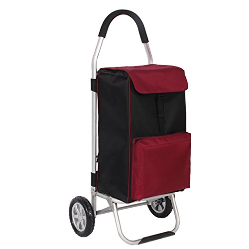 NYDZDM Carro de compras portátil de aleación de aluminio, compras, plegable, equipaje, carro pequeño, función de mantenimiento, gran capacidad, práctico