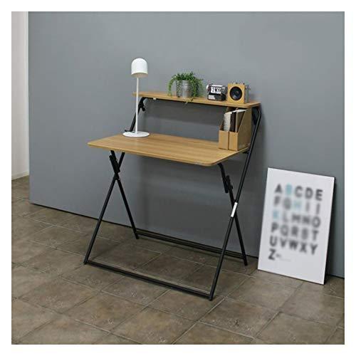 Escritorio plegable para computadora, 2 niveles con estante para ahorrar espacio, escritorio portátil para juegos de estudio, para oficina en casa, no necesita montaje.