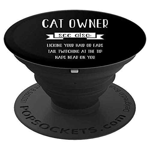 Cat Owner Sayings Dictionary Define Funny Christmas Gift - PopSockets Ausziehbarer Sockel und Griff für Smartphones und Tablets