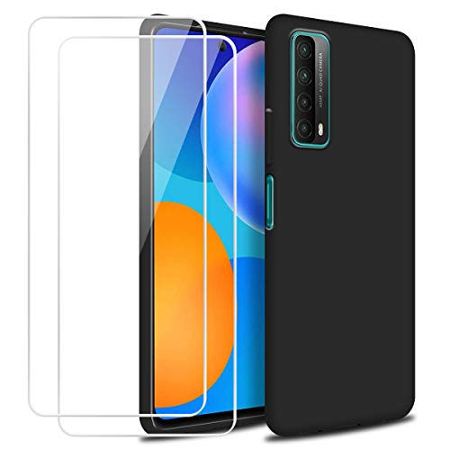 Reshias Funda para Huawei P Smart 2021 con Dos Cristal Templado Protector de Pantalla, Negro Suave Líquido Silicona Protectora Carcasa para Huawei P Smart 2021