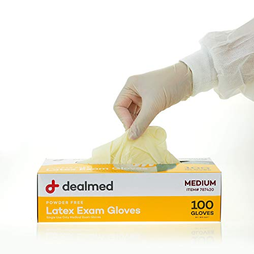 Dealmed Disposable Latex Exam Gloves, Non-Sterile, Heavy Duty, Professional Grade for Hospitals, Law Enforcement, Food Vendors, Tattoo Artists, Medium, 100 Count