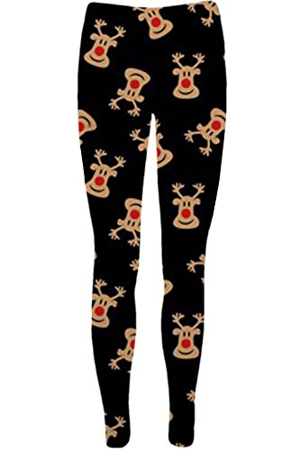 OOPS Outlet Women's Christmas Legging Xmas Santa Reindeer Tartan Candy Jegging Plus Size (US 12/14) Red Nose Reindeer Black