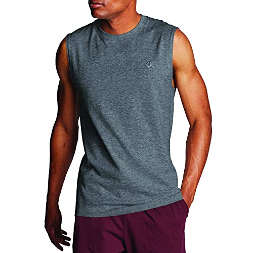 Champion camiseta clásica musculosa para hombre, L, Gris grafito