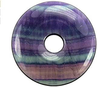 Natural Multi_Color Rainbow Fluorite Ring Circle Donut Chakra Pendant Bead DIY Jewelry Accressory Necklace Kit (40mm)