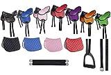 HKM 9346 - Juego de sillines para principiantes, sillín con estribos y correa de sillín, color negro