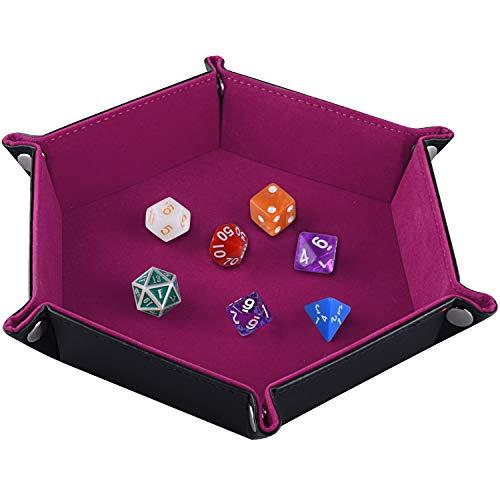SIQUK Tavola per Dadi, Cuoio Esagonale Pieghevole in PU e Supporto in Dark Rose Red per Dungeons And Dragons Gioco D & D Rpg Dice e Altri Giochi da Ta