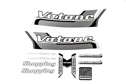 VOTONE Fahrrad Dekor Satz Aufkleber Rahmen Frame Decal Sticker VOTONE Label Schwarz Grau
