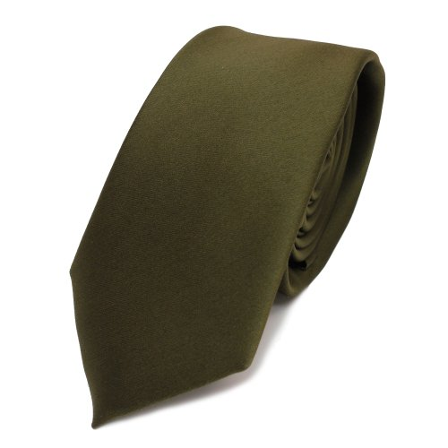 TigerTie - corbata estrecha - oliv verde verde oscuro monocromo poliéster