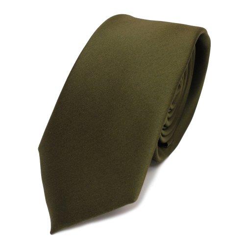 TigerTie schmale Satin Krawatte in oliv grün dunkelgrün einfarbig uni