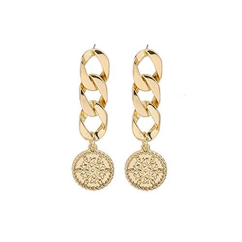 XCWXM Retrato Tallado en Oro Queen Moneda Pendientes Colgantes Damas Vintage Mano Estrella Cruz Pendientes Colgantes Pendientes de joyería femenina-20943