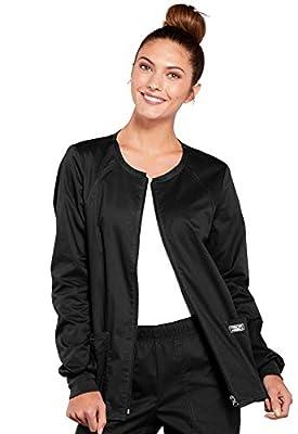Cherokee Women's Workwear Core Stretch Warm Up Scrubs Jacket, Black, X-Large