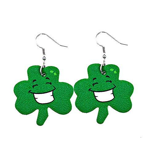Kexle St Patrick's Day PU Leather Earrings Shamrock Clover Teardrop Dangle Earrings Leaf Hat Irish Green Hook Earrings for Women Girls