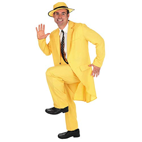 Mens Mask Yellow Suit Costume Adults 90s Comedy Movie Character Outfit - X-Large