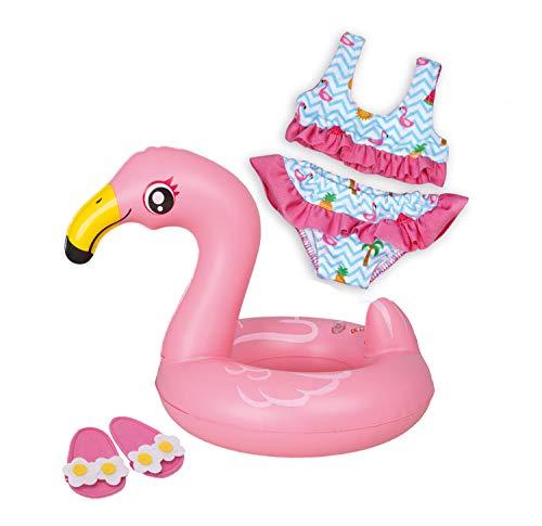 Heless 99 - Schwimmset für Puppen, 3 teilig, Flamingo Ella, Bikini, Flip Flops und Schwimmring, Größe 35 - 45 cm, für Badespaß an heißen Sommertagen