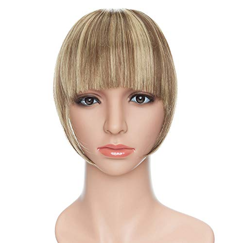 SEGO Frangetta Finta Capelli Clip Frangia Frontale Extension Bangs Hair Lisci Posticci Donna Toupet 30g Castano Cioccolato mix Biondo Dolce