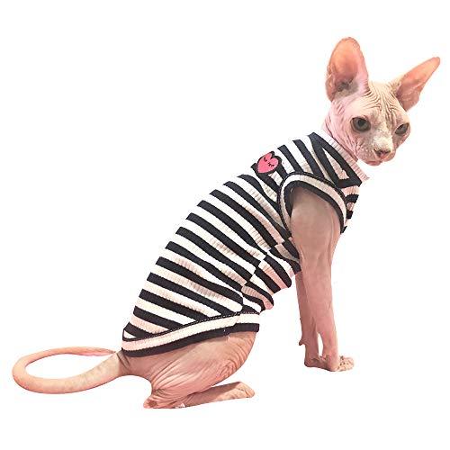 Hofun4U Haarlose Katze Baumwolle Kleidung Sphynx Atmungsaktiv Sommer T-Shirts Streifen Weste Haustier Kleidung Weiche hautfreundliche Katzen & kleine Hunde Bekleidung Schlafanzug, XXL, Blau ärmellos