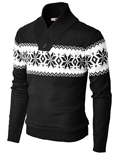 H2H Men's Casual Slim Fit Shawl Collar Pullover Sweater with Snowflake Pattern Black US XL/Asia 2XL (KMOSWL0102)
