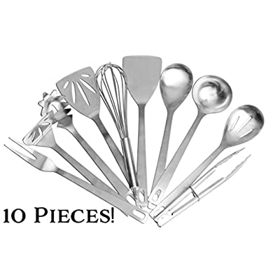 Stainless Steel Cooking Utensils (10-Piece Set); Kitchen Tool Set w/ Whisk, Slotted Spatula, Plain Spatula, Potato Masher, Tongs, Spoon, Slotted Spoon, Soup Ladle, Spaghetti Server & Fork