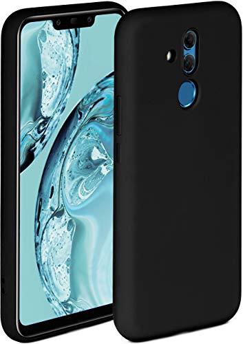 ONEFLOW Soft Case kompatibel mit Huawei Mate 20 Lite Hülle aus Silikon, erhöhte Kante für Bildschirmschutz, zweilagig, weiche Handyhülle - matt Schwarz