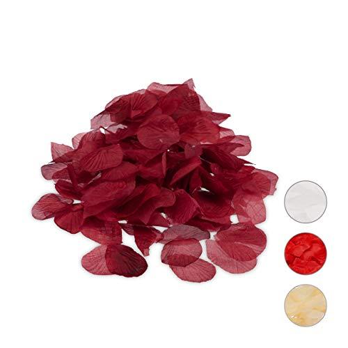 Relaxdays Rosenblätter bordeaux 500er Pack, künstlich, romantische Rosenblüten, Streudeko, Hochzeitsgeschenk, weinrot