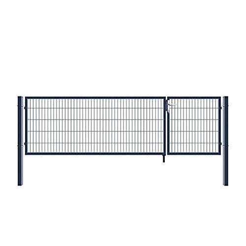 Home Deluxe - Doppelflügel Gartentor - inkl. Griff, Schloss, Schlüsseln und Bodenverriegelung - ca. 140 x 350 cm- Farbe: anthrazit