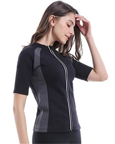 LQQSD Camisa De Sauna para Mujer Trajes De Sauna Térmica Neopreno Body Quemador De Grasa Sudadera con Cremallera - Elástico, Transpirable, De Secado Rápido (Color : Short Sleeve, Size : S)