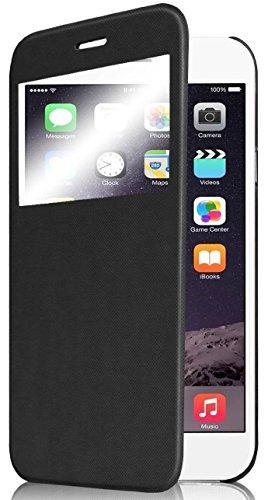 iPhone 6 Plus Case, Pasonomi [Smart Window View] Apple iPhone 6 Plus Folio Wallet Case - Slim Flip Leather Case for Apple iPhone 6+ iPhone Plus 5.5 Inch Smartphone (Black)