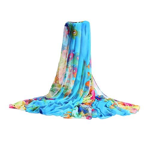 UK_Stone Damen Übergroesse Modisch Sarong Pareo Strandtuch Wickeltuch Bikini Sonnenschutz Decke Cover-up (Feder Hellblau)