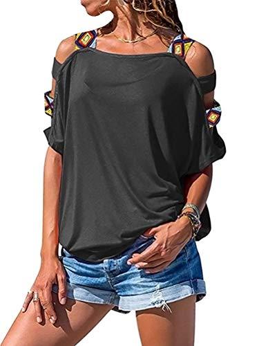 Yesgirl Maglietta Donna Spalle Scoperte Moda Bluse Elegante Estivo Loose T-Shirt Patchwork Boho Manica Corta Casual Tunica Top Tinta Unita Grigio 42