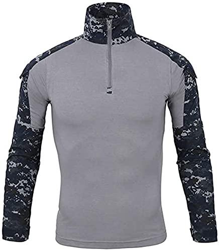 Czen Camisas Militares tácticas para Hombres Camisa de Manga Larga de Camuflaje Camisa de Manga Larga con Cremallera 1/4 Camisa de Senderismo del ejército al Aire Libre (3XL,haiyang)