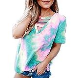 DREAMING-La Camiseta De Manga Corta Casual con Cuello En V Estampada con Cuello En V para Mujer Combina Todas Las Mujeres Verde XL