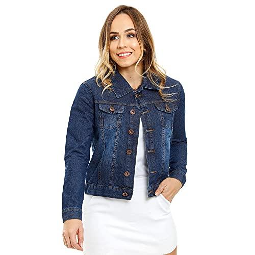 Jaqueta Jeans Feminina Tradicional - Várias Cores Cor:Azul;Tamanho:P