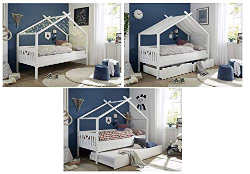 Kinderbett Leonie mit Dach/Himmelvorrichtung 90 * 200 Kiefer massiv Holz weiß Jugendzimmer Liege Spiel Hausbett
