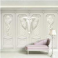 Xbwy 装飾壁画壁紙立体エンボス象壁紙リビングルームの背景壁の装飾壁画-150X120Cm