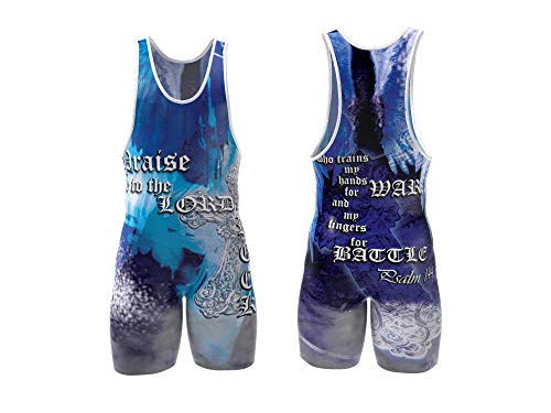 4 Time All American Blue Psalm 144 Wrestling Singlet Size 2XL