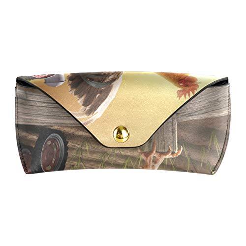 XiangHeFu Kunst Zaun Bauernhof Hahn Sonnenaufgang PU Leder Multiuse tragbare Lagerung Sonnenbrille Fall Brillen Beutel Schutzbrillen Tasche