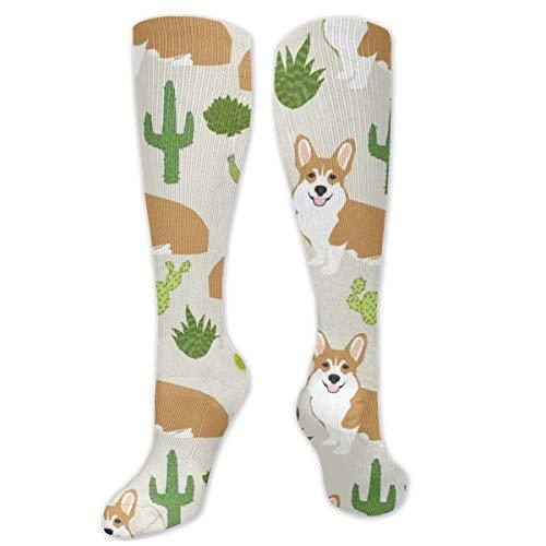 Myhou Kniestrümpfe, Damen, Oberschenkelhohe, lange Socken, Mädchen, Corgi mit Kaktus-Strümpfe