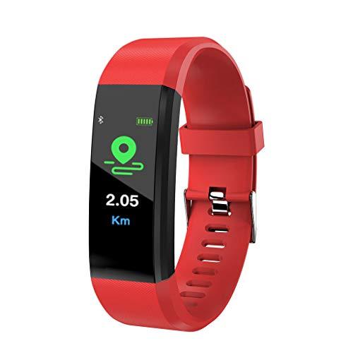 Smartwatch Fitness Tracker, Armbanduhr Sportuhr Smart Watch für Damen Herren Kinder mit Herzfrequenz Schlaftracker Wasserdicht Kompatibel SMS Beachten Armbanduhr mit Android und IOS,Red