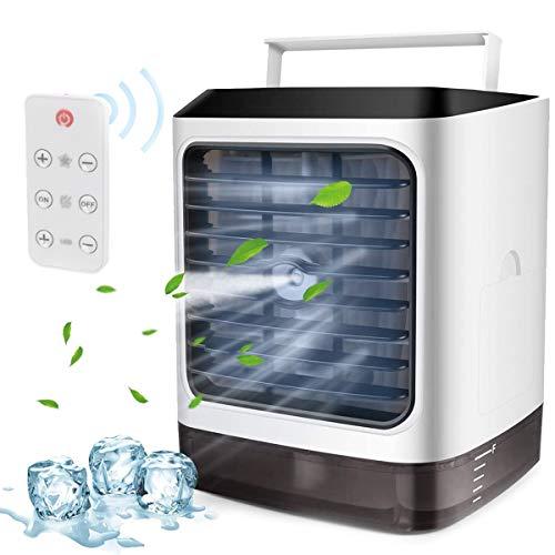 EFGSbed Ventilador De Aire Acondicionado Portátil Enfriador De Aire, LED 7 Colores, 3 Velocidades, Ahorro De Energía, Ultra Silencioso con Mango Ventilador De Escritorio con Interfaz USB