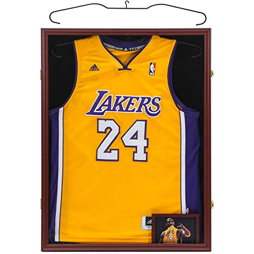 ZUEDA Jersey Display Frame Case with Steel Hanger, Large Lockable Frames Shadow Box with UV...